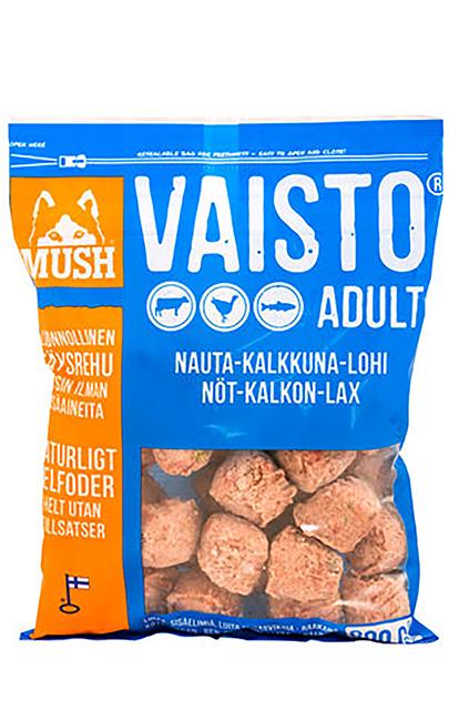 Frysetørket fullfor til hund MUSH Vaisto blå (storfe-kalkun-laks) 800G